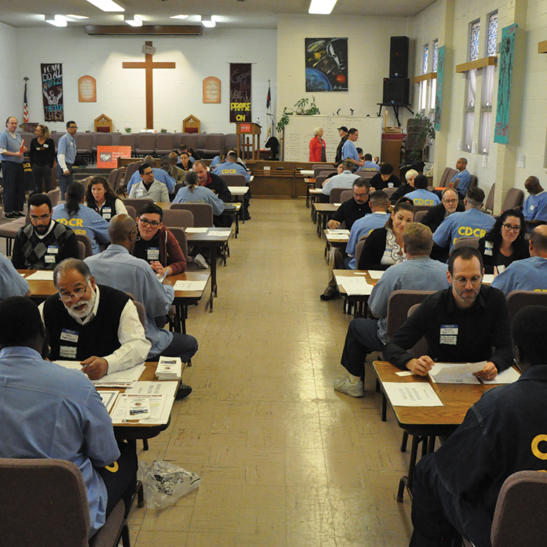 Potential employers meeting with Prison to Employment graduates